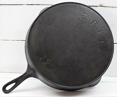 Very Rare Erie Pre Griswold 719 Logo Cast Iron Pan Skillet w/ Heat Ring #12