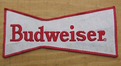 Vintage 1960's Budweiser Beer LARGE Employee Embroidered Bow Tie Patch~Red White