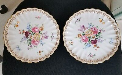 """2 Beautiful, Crown Staffordshire, """"England's Bouquet"""" Footed Compote"""
