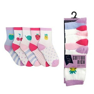 10 Pair Special Offer 12.5-3.5 Sized Girls Cotton Rich Fruit Design Socks