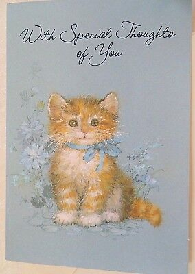 """Vintage Hallmark Card UNUSED """"Special Thoughts"""" Kitty with Blue Ribbon Flowers"""