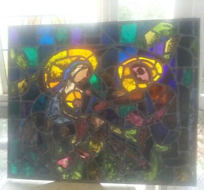 "Antique NY Church Stained Glass Window Salvage of Mary, Joseph & Jesus. 27""x32"""