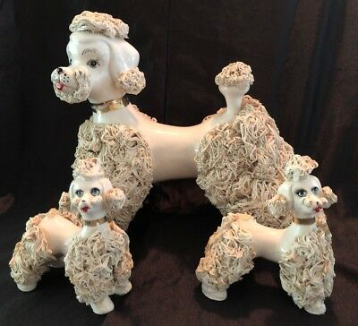 Vintage White Poodle Figurine with Poodles on Chains Japan Spaghetti LARGE! RARE