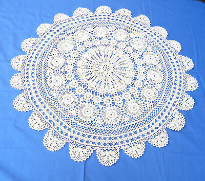 "Vintage Crochet Lace Tablecloth Beige Cotton 30"" round"