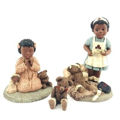 All God's Children Martha Holcombe Resin Black Figurine Bear Faith Merci Lot 3