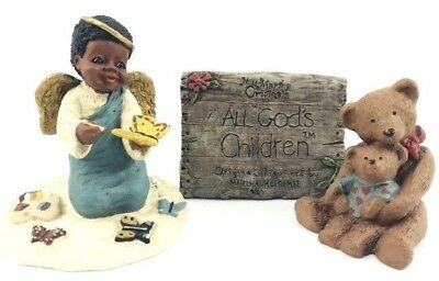 All God's Children Martha Holcombe Resin Black Figurine Charity Moe & Pokey Sign