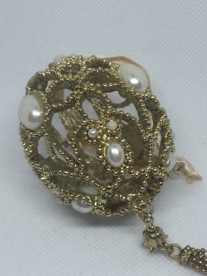 Filigree Egg-Shaped Christmas Ornament Gold Tone & Faux Pearls  X18730