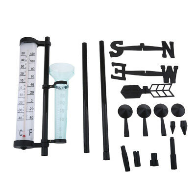 Outdoor Weather Station Kit Rain Gauge Thermometers Wind Indicator 3 in one