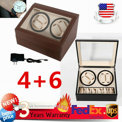 NEW SALE! 4+6 Automatic Rotation Leather Wood Watch Winder Storage Case Box US