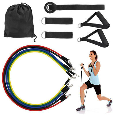 11 in 1 Resistance Band kit Yoga Pilates Abs Exercise Fitness Tube Workout Bands