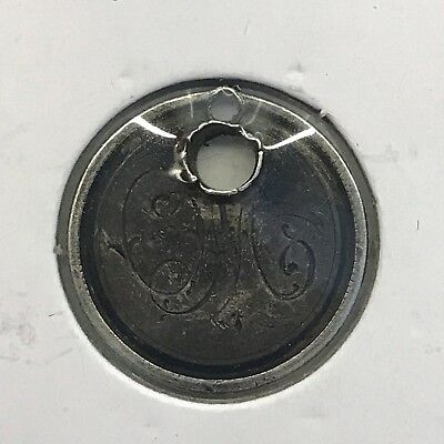 """1888 """"M"""" Love Token from 10C Seated Liberty Dime: Holed"""