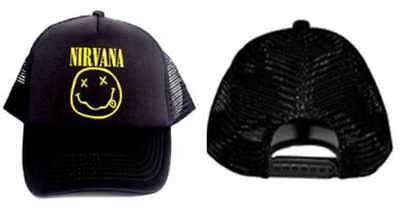 6c9302e0dc860 RARE) OFFICIAL NIRVANA Logo Smile Smiley Face Dad Hat Adjustable Cap ...