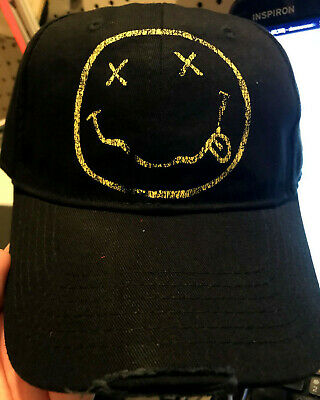 24884b641f3 RARE! NIRVANA SMILEY Face Logo Embroidered Adjustable Dad Cap ...