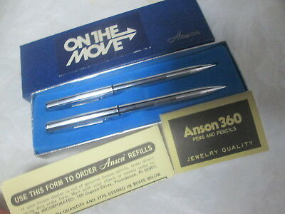 Vintage Anson Pen Pencil Set Bell Phone In Box Papers