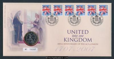 UK 2007 United Into One Kingdom 300th Ann. Of The Act Of Union Royal Mint PNC