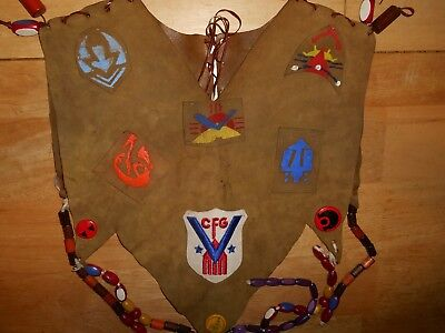 VTG Camp Fire Girls Suede Vest Buttons Wood Beads Rare World War 2 Victory Patch