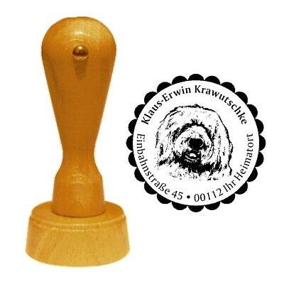 Stempel « BOBTAIL 01 » Adressenstempel Motiv Old English Sheepdog Schäferhund