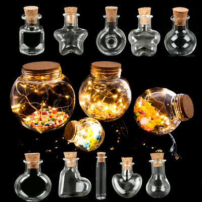 10Pcs Mini Small Clear Cork Message Glass Tiny Bottles Vials Charm Pendant