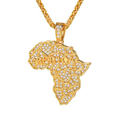 """1.73/"""" 7g CUTE AFRICA MAP CHARM REAL 18K YELLOW GOLD PLATED SOLID FILL GP PENDANT"""
