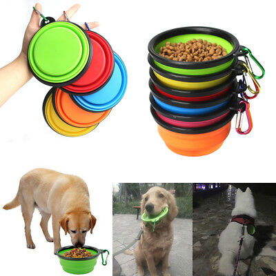 Foldable Dog Cat Pet Puppy Travel Food Feeding Bowl Water Dish Silicone Bowl