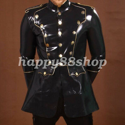 Gummi Coat Button Handsome Men Black Jacket Rubber Latex Shirt 0.4mm Size S-XXL