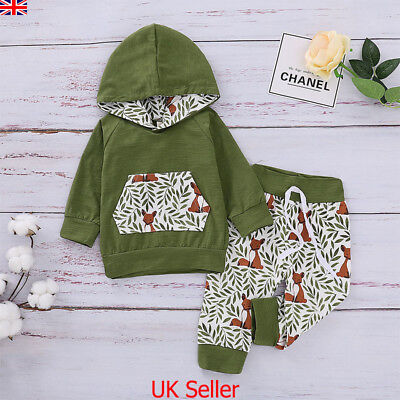 Baby Boys Girls 2Pcs Outfits Set Kids Winter Clothes Fox Print Hooded Tops Pants