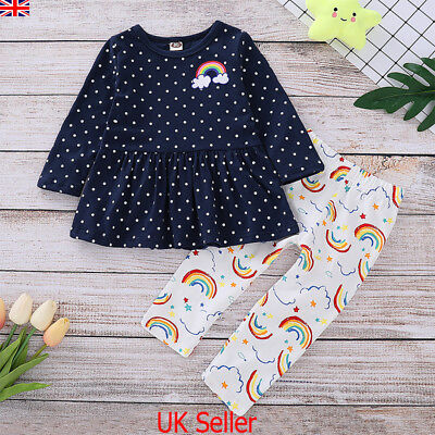 UK Toddler Kids Baby Girls Tops Rainbow Pants Leggings 2Pcs Outfits Clothes Set