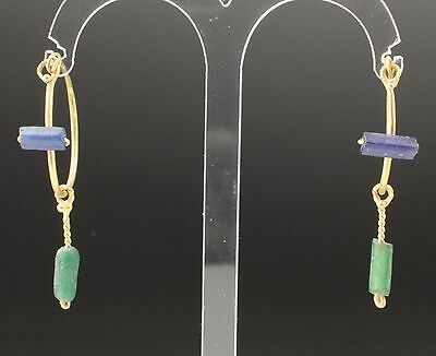 ANCIENT ROMAN GOLD & GLASS BEAD EARRINGS - CIRCA 2nd CENTURY AD