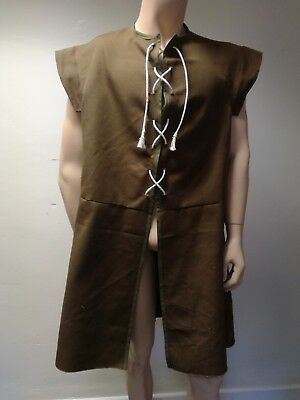 Custom-made Medieval-style Doublet -cotton/brown - L -LARP/cosplay/handfasting