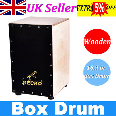 """18.9"""" Cajon Drum Snares Acoustic Wooden Rhythm Box Hand Drum Percussion +Tuner"""