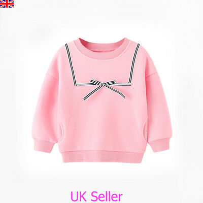 Kids Baby Girls Bowknot Sweatshirts Tops T Shirt Toddler Hoodies Jumpers Clothes