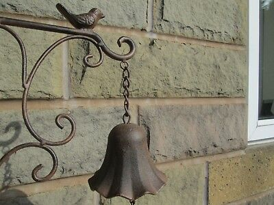 Lovely Cast Iron Vintage/ Rustic Style Wall Mounting Bird Door/ Garden Bell.