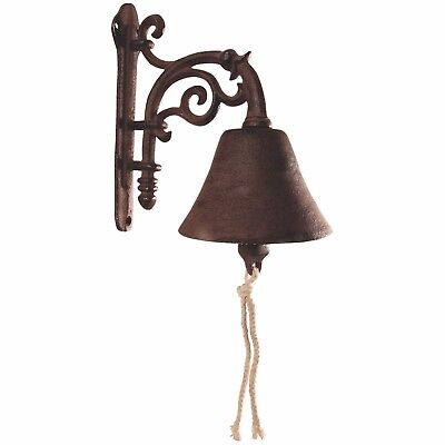 Bell Cast Iron Hanging Wall Vintage Classic Decorative Rust Doorbell Mount Door