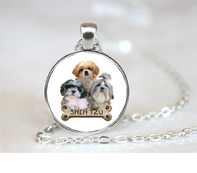 "DOG PET ANIMAL SHIH TZU   pendant Silver 20"" Necklace women mom FREE $10 GIFT"