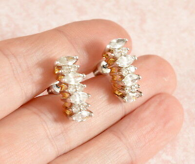 Vintage style stunning clear crystals / cut glass earrings
