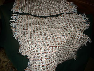 """#914WW  vtg placemats  LOT 4  WAFFLE WEAVE White Pink & Blue  18'' x 15 1/2"""""""