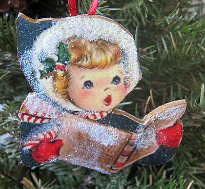 Sweet Girl Singing Carols Christmas Wooden Ornament 1950s Decor Cards Mittens