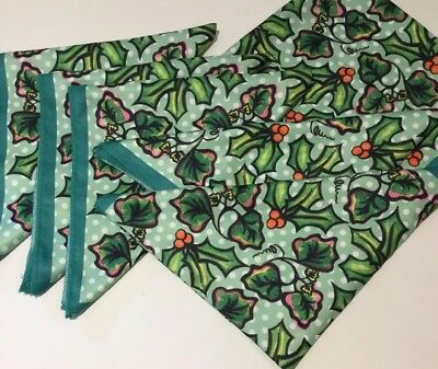 Lush Christmas Knot Wrap Recycled Holly Print Scarf Bundle Job Lot Wrapping