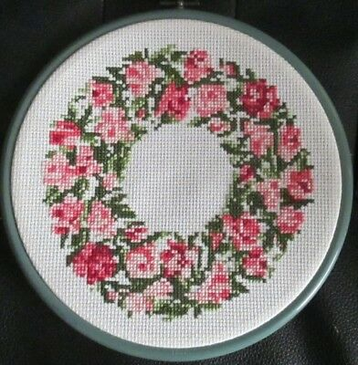 Completed Circular Cross Stitch Floral Wreath Sampler -  Pink & Green - Used