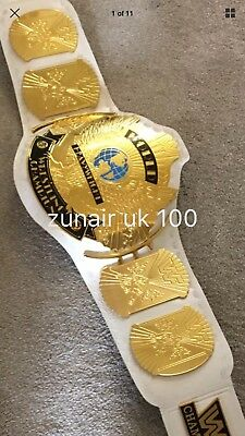 WWE  / WWF GOLD Winged Eagle wrestling REPLICA White Title  Belt WITH CARRY CASE