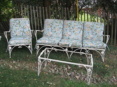 Vintage 3 Piece Wrought Iron Patio Furniture Set Couch Chair Table W Cushions