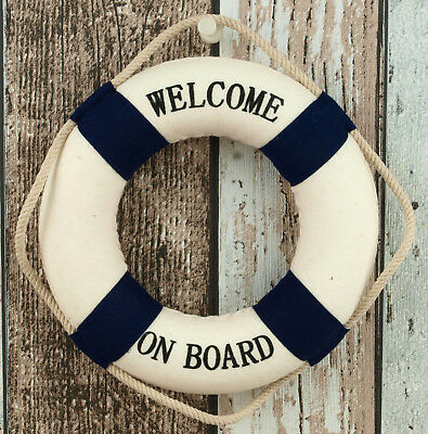 "Rettungsring 15 cm blau/weiß ""Welcome on Board"" maritime Dekoration Wanddeko"