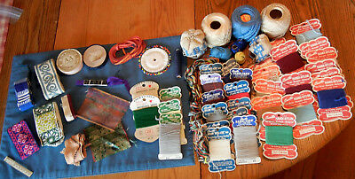 Huge Lot of Antique Sewing Items Darning Yarn Embroidered Trims FREE SHIPPING