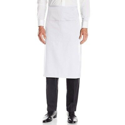 White Pocket Bar Apron With Waist Ties