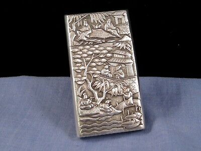 Chinese Silver Antique Business Calling Card Case Pocket Pictorial Armorial Box