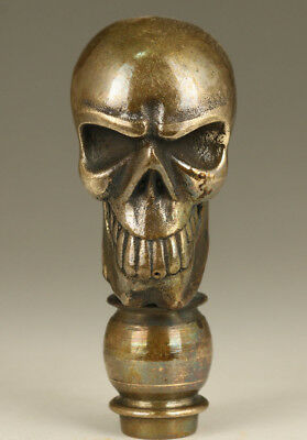 fine limited edition fashion Solid Bronze Skull Walking Stick Head accessories