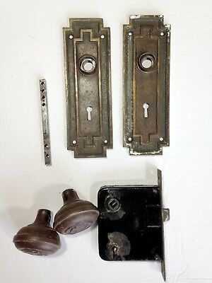 Antique Door Hardware Set Knobs, Art Deco Back Plates, Rod, Mortise Lock