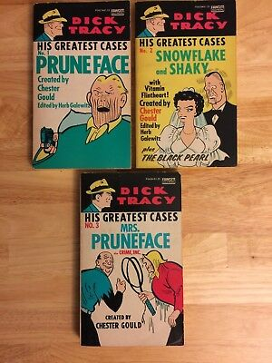 DICK TRACY GREATEST CASES 1-3 (Fawcett, 1975) by Chester Gould-PB reprints-1st