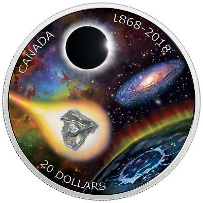 20 Dollar 1 Oz Silber Proof 150th Anni of Royal Astronomical Society of Canada K