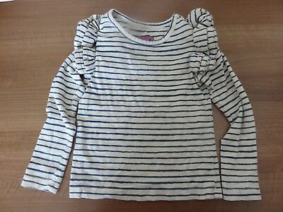 Little Joules blue/cream long sleeved girls top with ruffles on shouler size: 3y